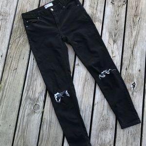 Free People black rip knee distressed  jeans 27